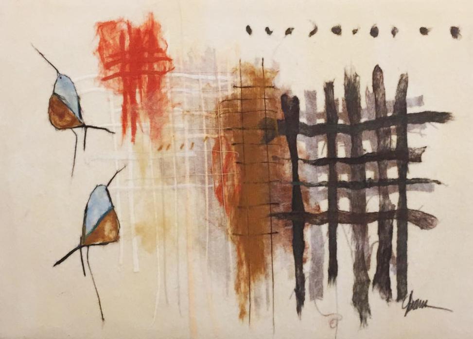 "JOHANAN HERSON   Harmony Birds Original Acrylic Fiber   Soft Art 36"" H x 49"" W"