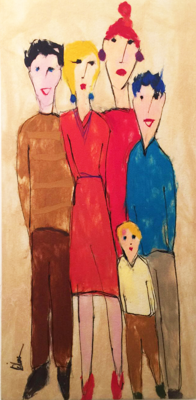 "JOHANAN HERSON   The Family II Original Acrylic Fiber | Soft Art 60"" H x 30"" W"