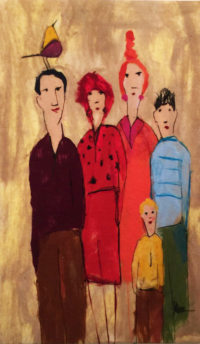"JOHANAN HERSON   The Family III Original Acrylic Fiber | Soft Art 59"" H x 35"" W"