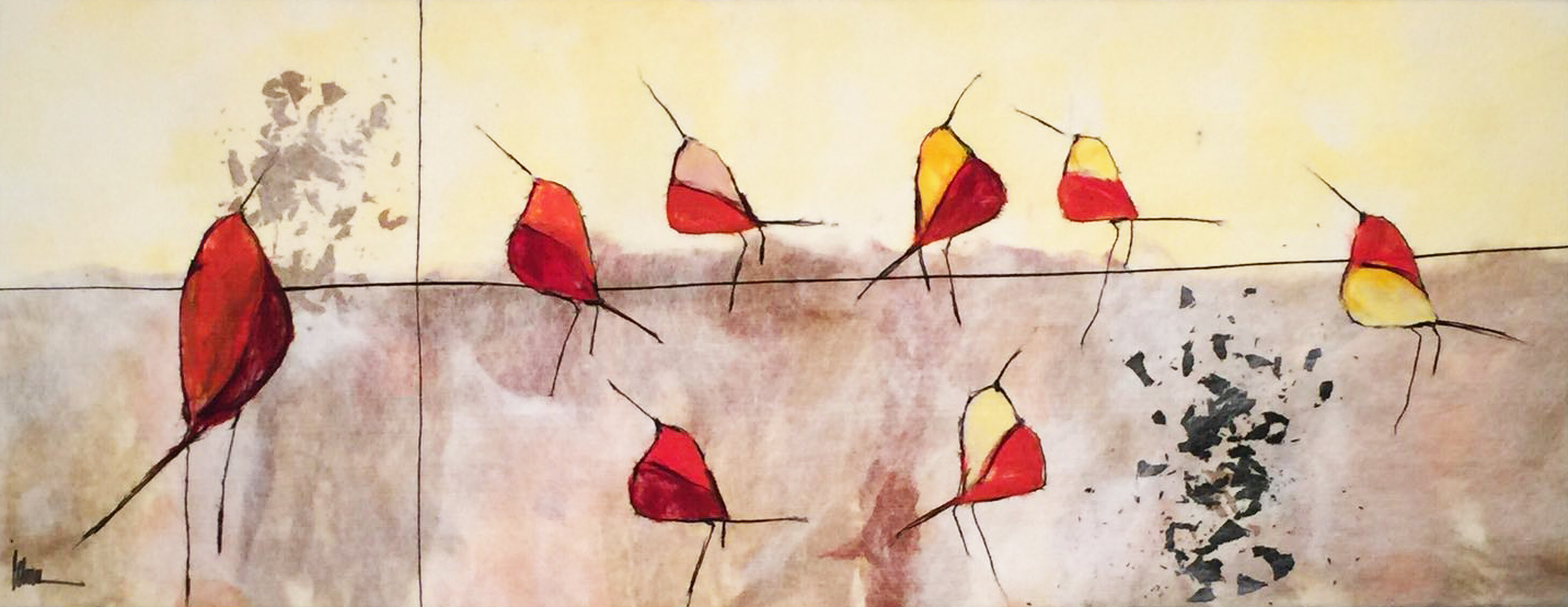 "JOHANAN HERSON   Song Birds  Original Acrylic Fiber | Soft Art 48"" H x 54"" W"