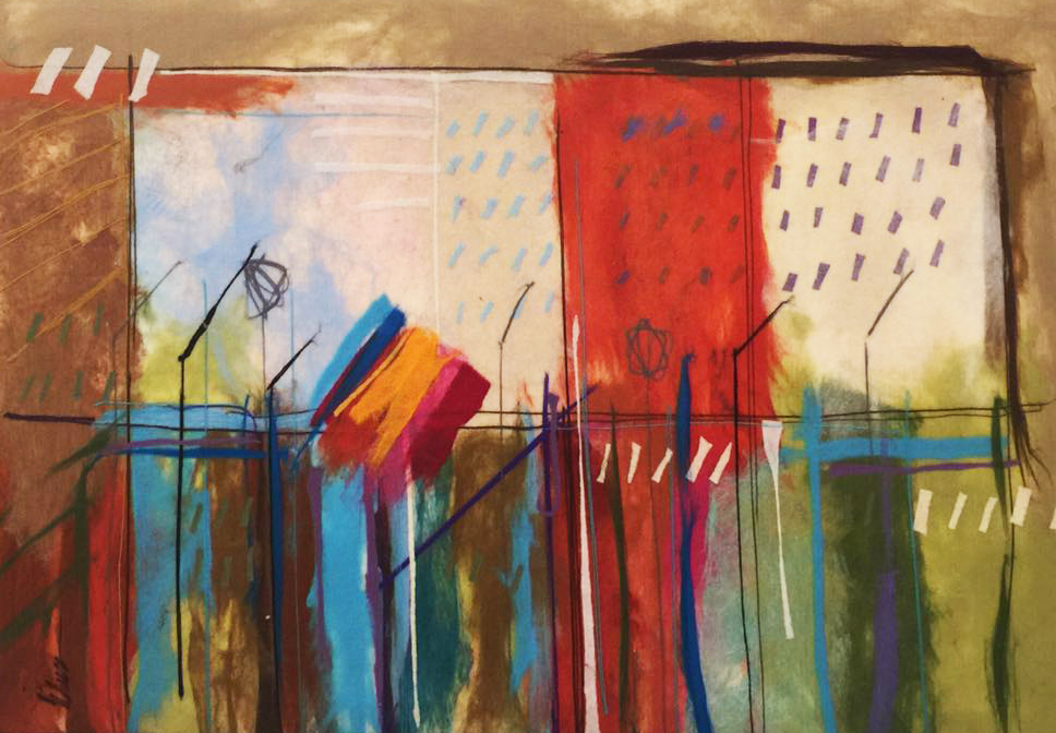 "JOHANAN HERSON   Urban Scenery III Original Acrylic Fiber   Soft Art 38"" H x 54"" W"