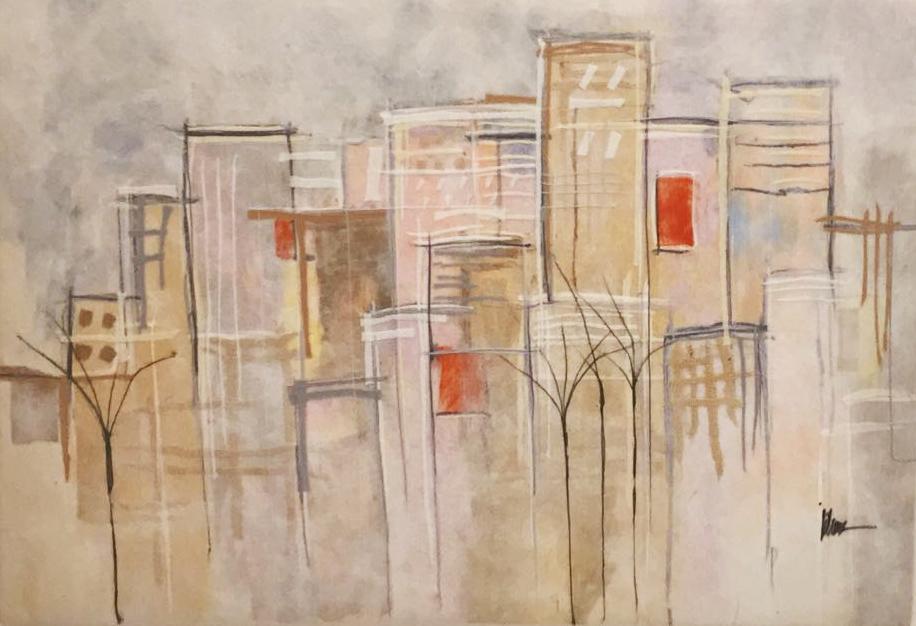 "JOHANAN HERSON   Urban Scenery IIII Original Acrylic Fiber   Soft Art 38"" H x 54"" W"