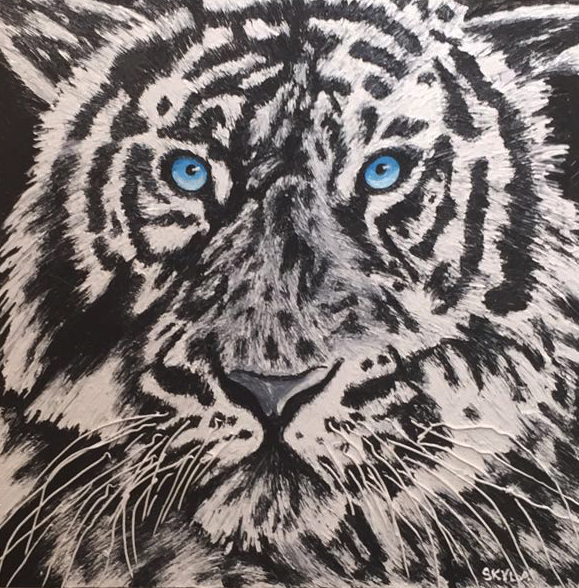 "SKYLA WAYRYNEN   Better To Live 1 Year As A Tiger Than 100 Years As A Sheep Original Oil 36""H X 36""W"