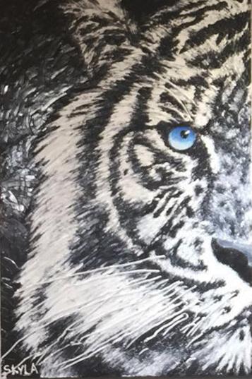 """SKYLA WAYRYNEN   A Wounded Tiger is A Dangerous Beast   Original Oil   36""""H X 24""""W"""
