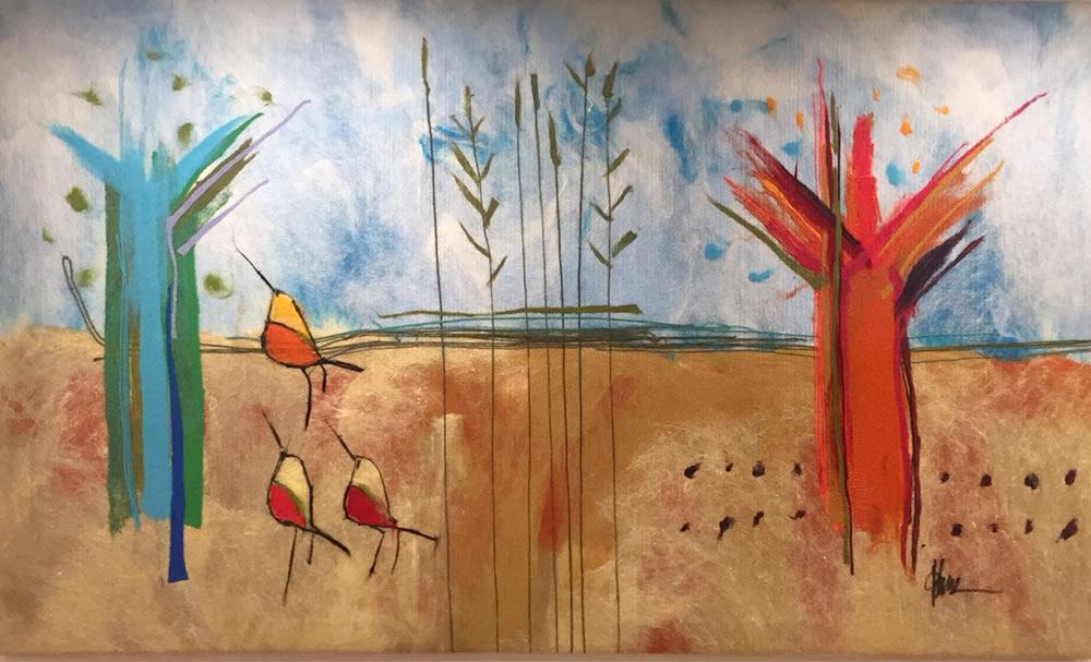 "JOHANAN HERSON Landscape Original Acrylic Fiber   Soft Art 35"" H x 56"" W"