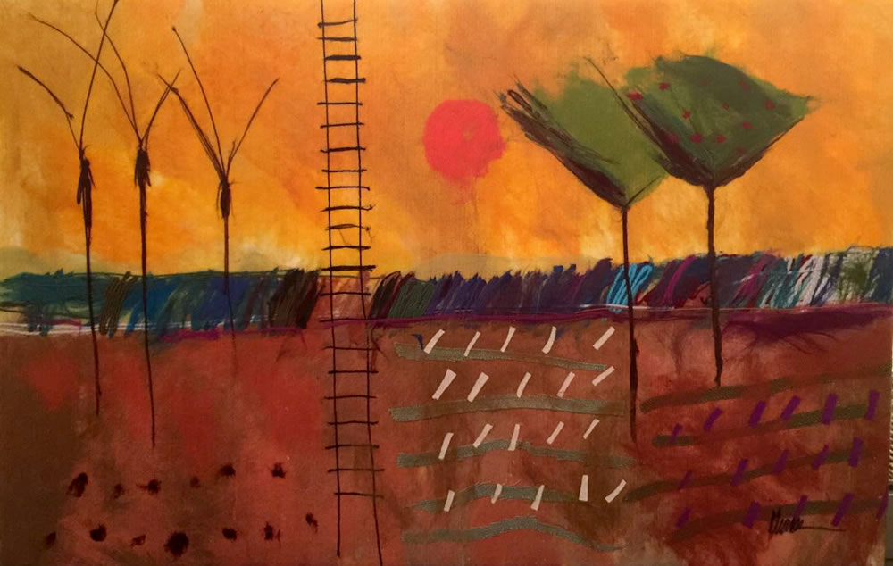 "JOHANAN HERSON Landscape Original Acrylic Fiber   Soft Art 28"" H x 41"" W"