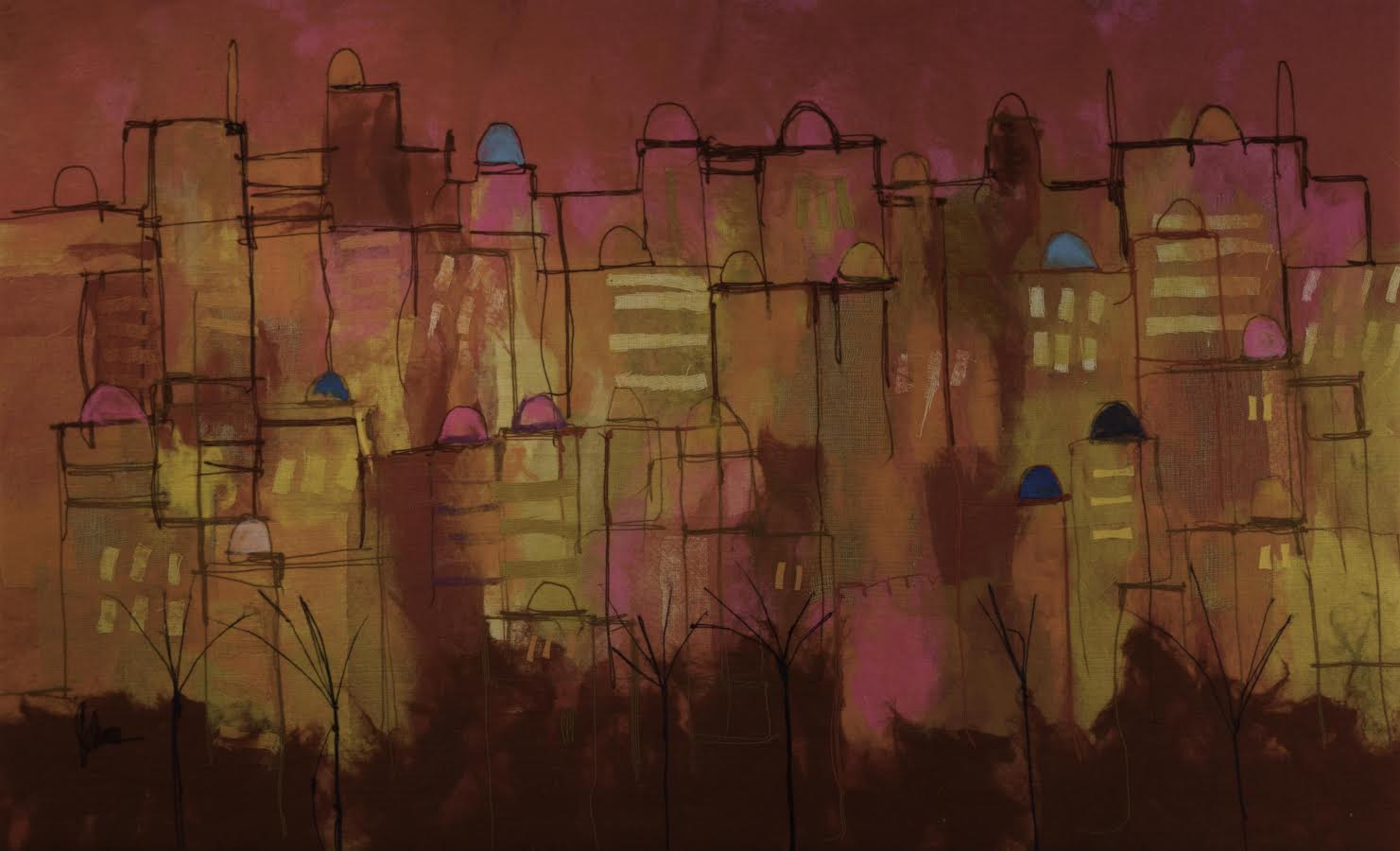 "JOHANAN HERSON Jerusalem Original Acrylic Fiber   Soft Art 52"" H x 85"" W"