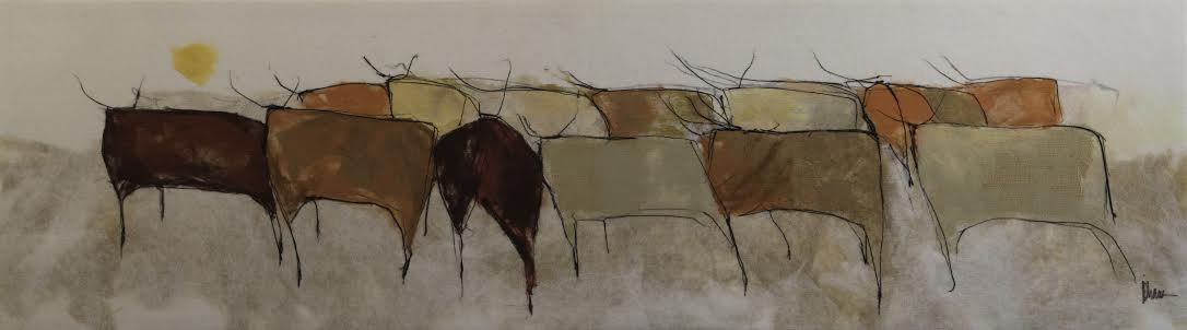 "JOHANAN HERSON   The Herd VI Original Acrylic Fiber | Soft Art 34"" H x 119""W"