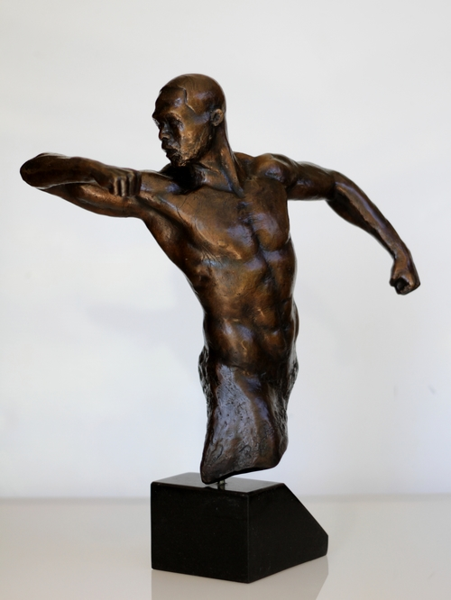 RUDOLF SOKOLOVSKI Goat - Greatest of All Time Bronze with Brown Patina Black Granite Base 17.5 X 14 inches