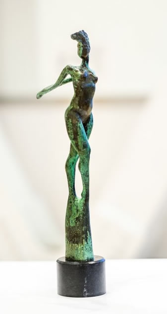 RUDOLF SOKOLOVSKI  Carioca Deep Forest Original Patina Bronze with Black Granite Base 19.5 inches