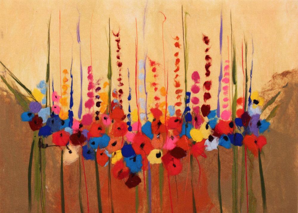"""JOHANAN HERSON  Flowers R 4 Ever I Original Acrylic Fiber   Soft Art 34"""" H x 53"""" W"""