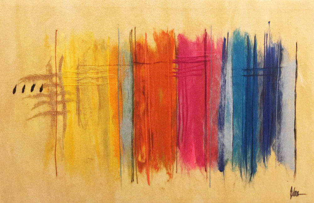 """JOHANAN HERSON  Color Scheme V Original Acrylic Fiber   Soft Art 34"""" H x 55"""" W"""