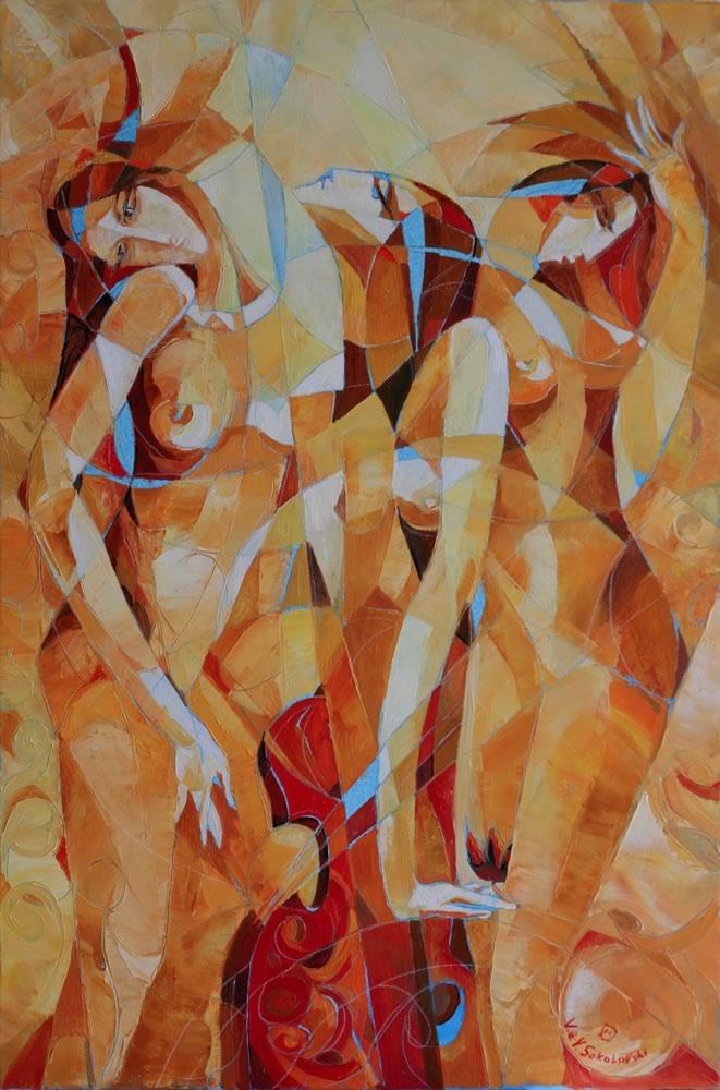 VALERI SOKOLOVSKI  Three Muses Oil on canvas - 36 x 24 inches