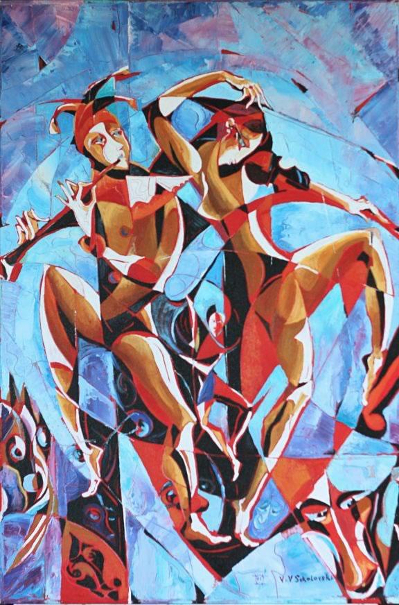 VALERI SOKOLOVSKI   In the blue lights Oil on canvas 36H x 24W inches