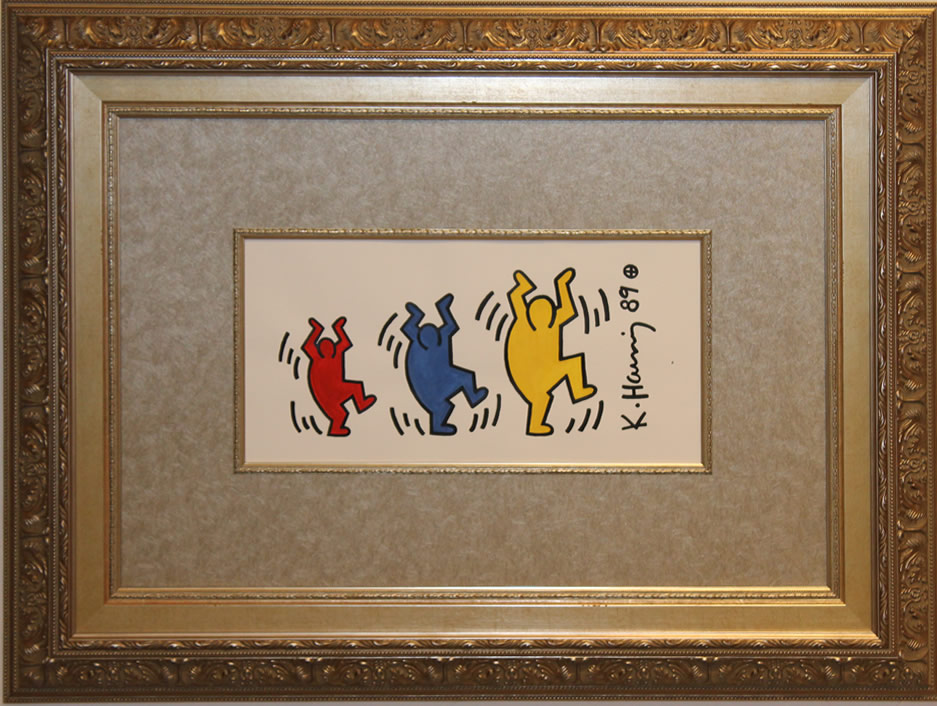 "KEITH HARING  Three Dancing Figures Original Gouache 10"" H X 18"" W"
