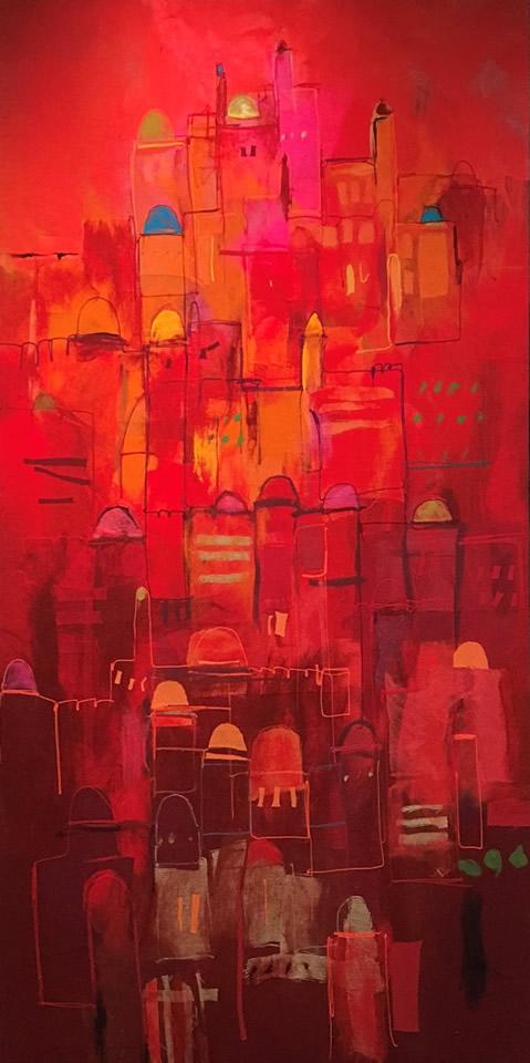 "JOHANAN HERSON  Jerusalem Original Acrylic Fiber   Soft Art 85"" H x 52"" W"