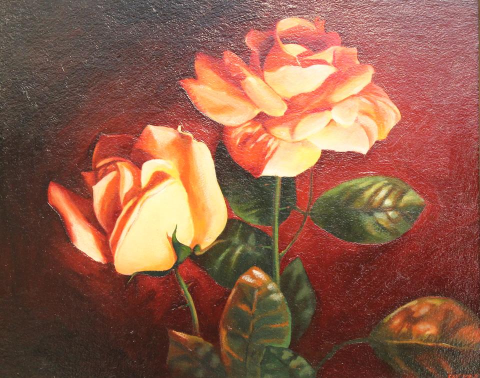 ALEXANDER SHEVERSKY Roses are Red Original Oil 16 X 19.5