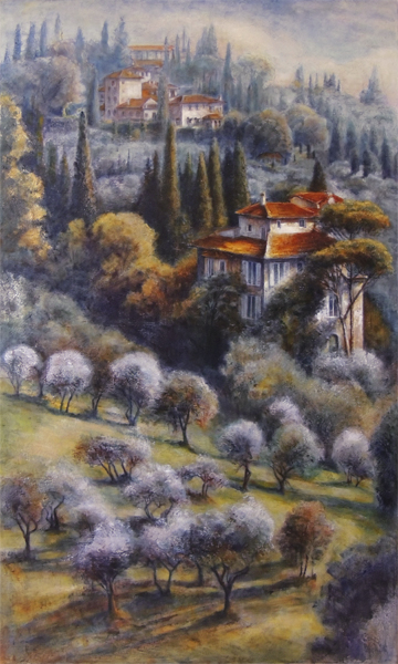 "JANICE MCLEAN  Oliveta Original Oil, leafing & marble dust 36"" x 60"""