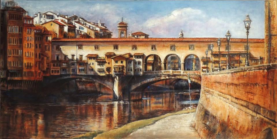 """JANICE MCLEAN  Ponte Vecchio Original Acrylic, leafing & marble dust  24"""" x 36"""""""