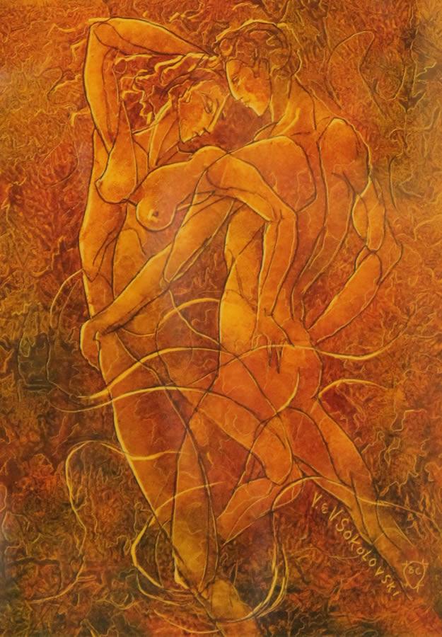 "VALERI SOKOLOVSKI  The Tango Series I Original Oil 15.5""W X 19""H"