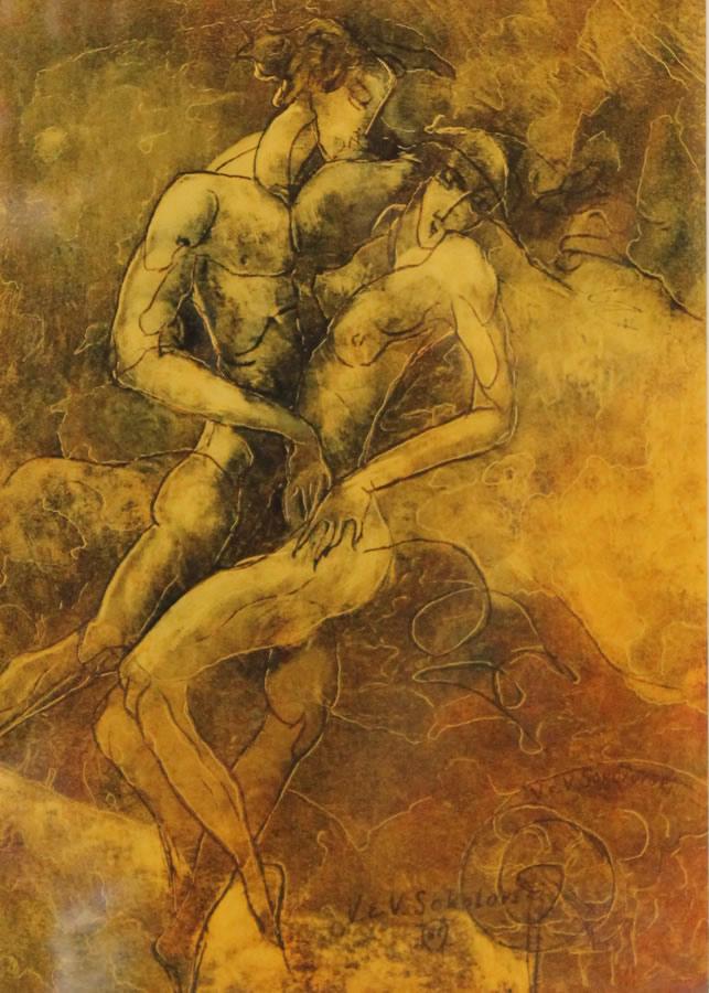 "VALERI SOKOLOVSKI  The Tango Series III Original Oil 15.5""W X 19""H"