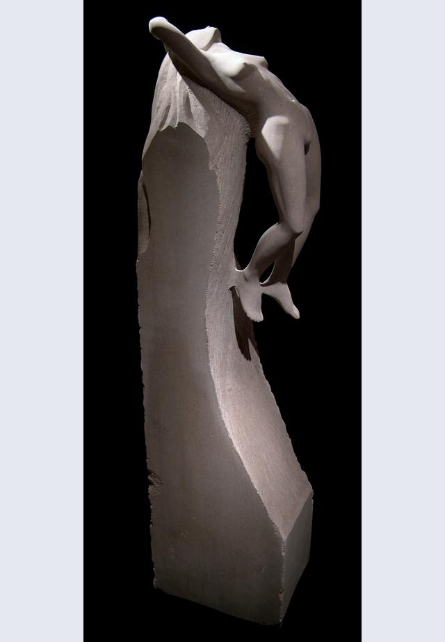 MICHAEL BINKLEY  Awakening Original Sculpture. Indiana Limestone 72 X 18 X 13