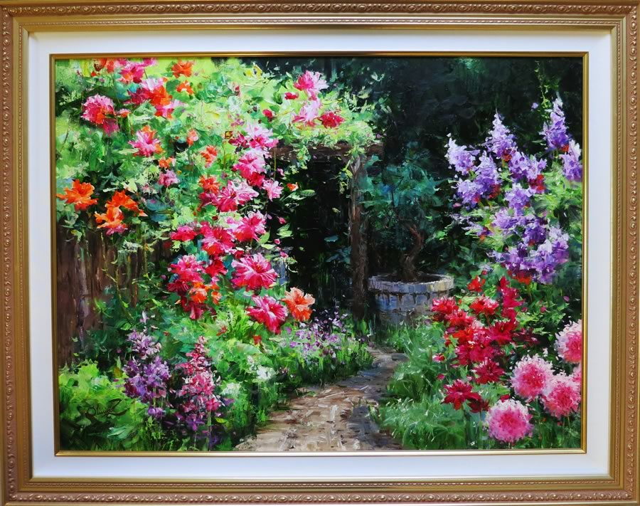 OLIVIA ZENG  Garden in July Original Oil 23.5 X 31.5