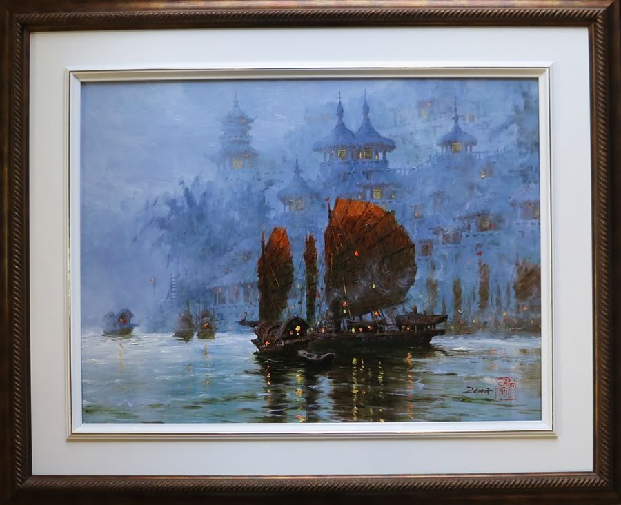 UNCLE ZENG  Foggy Sails.18X24 Original Oil Original Oil 18 X 24