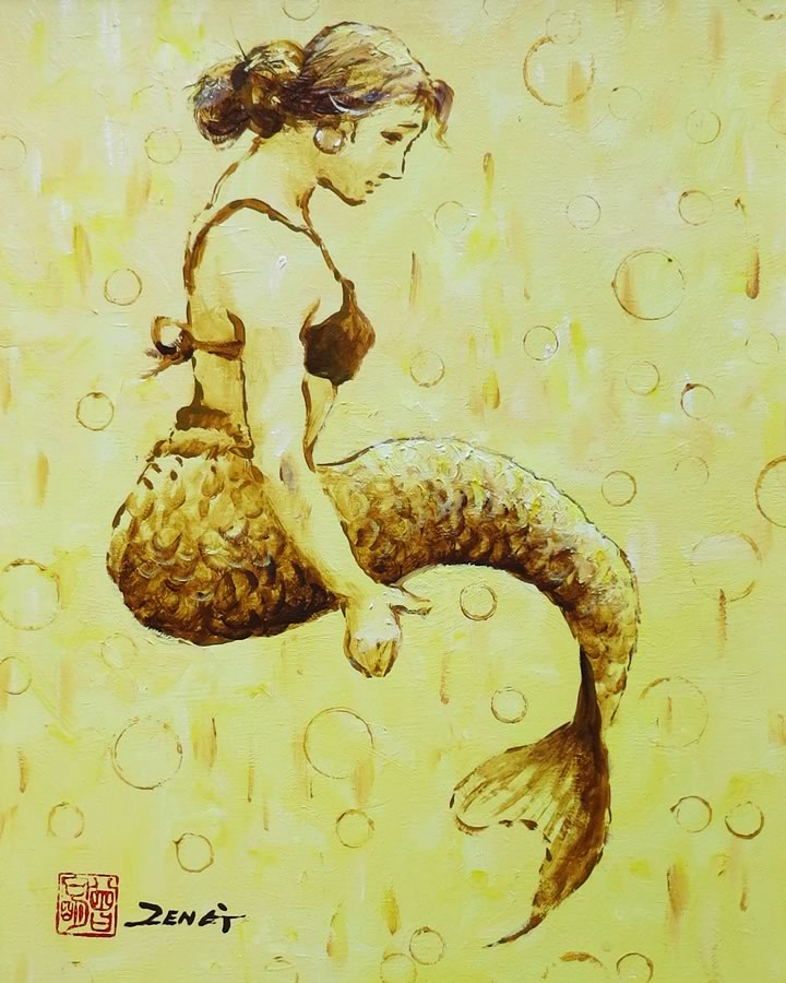 UNCLE ZENG  Mermaid Original Mixed Media 16 X 20