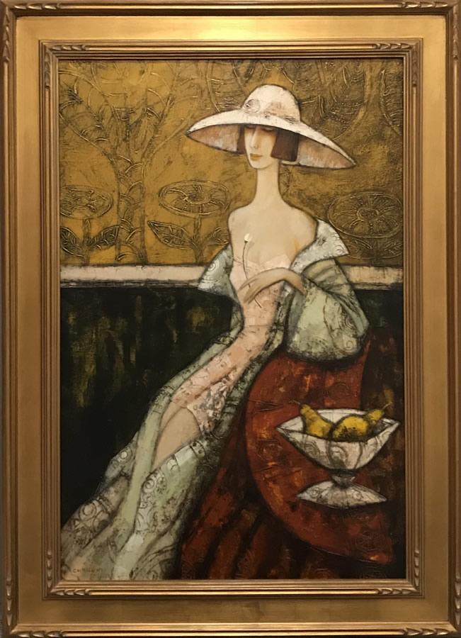 LUDMILA CURILOV  Lady with a Flower Original Acrylic 36 X 24