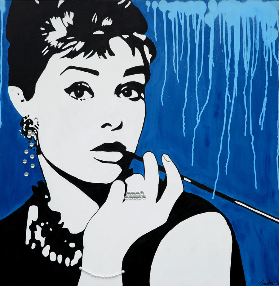 TAISHA TEAL  Audrey Hepburn, Elegance is the only beauty that never fades Original Gesso Acrylic and Spray Paint 36 X 36