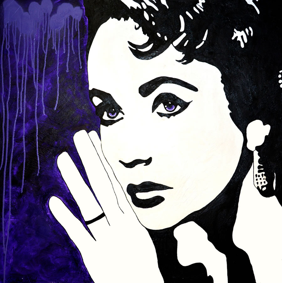 TAISHA TEAL  Elizabeth Taylor, To be true to myself, whether it pleases others or not Original Gesso Acrylic and Spray Paint 36 X 36
