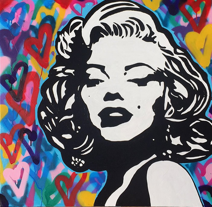 TAISHA TEAL  Marilyn Monroe, Wanting to be someone else is a waste of the person you are Original Gesso Acrylic and Spray Paint 36 X 36