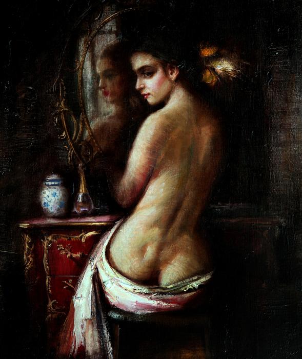 OLEG TURCHIN  In front of the Mirror Original Oil 18X14