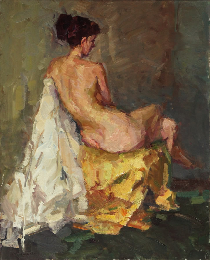 ROMAN PODOBEDOV  Sitting Nude from the Back Original Oil 39 x 31