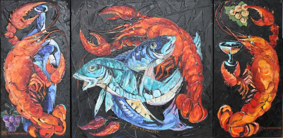VALERI SOKOLOVSKI  Still life lobster triptych Original Oil 24X12   24X24   24X12