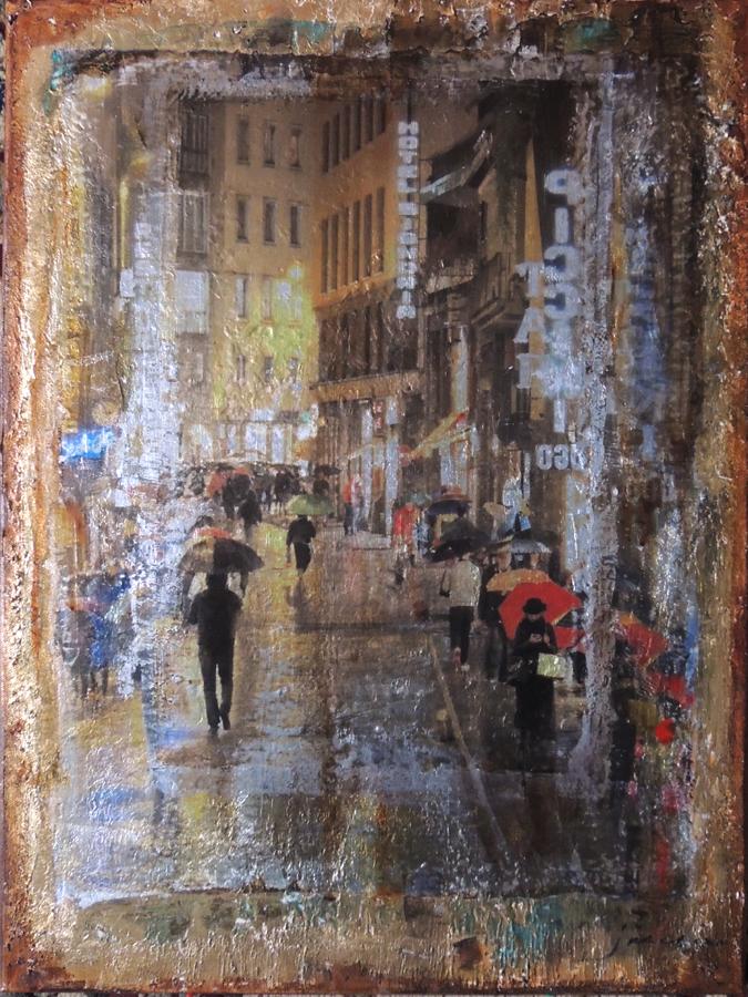 JANICE MCLEAN  Ponte Vecchio Original Mixed Media 18 X 24