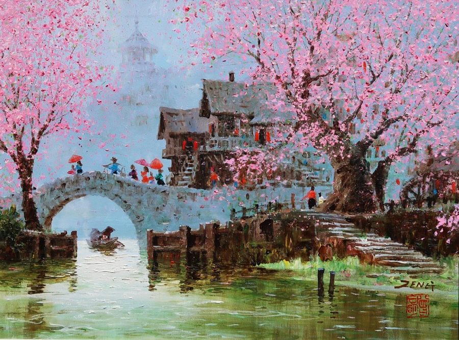 UNCLE ZENG  Blossom Season Original Oil 18 X 24