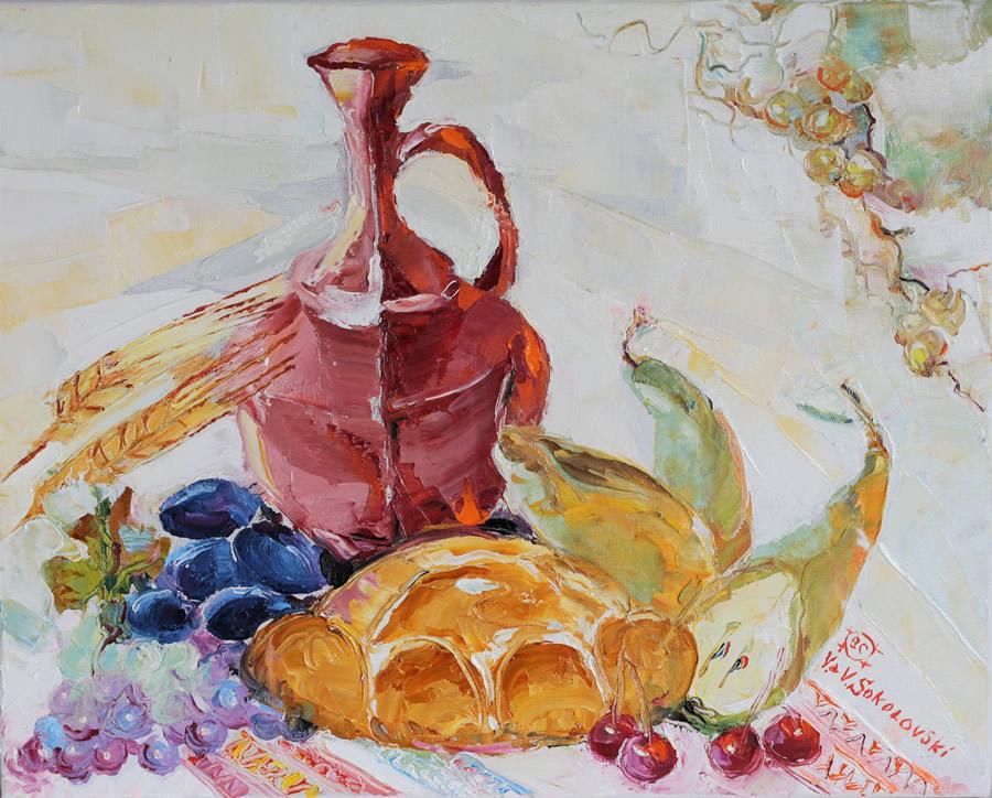 VALERI SOKOLOVSKI  Naturmort with Bread Original Oil 16 X 20
