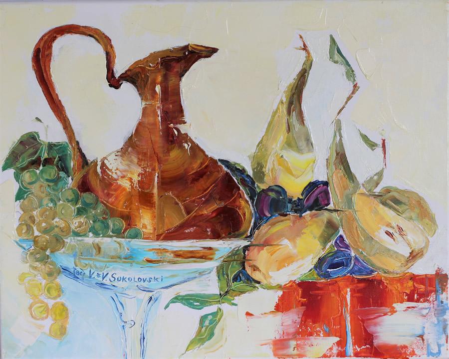 VALERI SOKOLOVSKI  Naturmort with Pears Original Oil 16 X 20