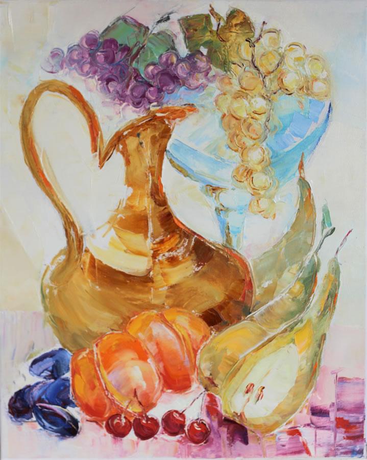 VALERI SOKOLOVSKI  Vin and Fruits Original Oil. 20 X 16