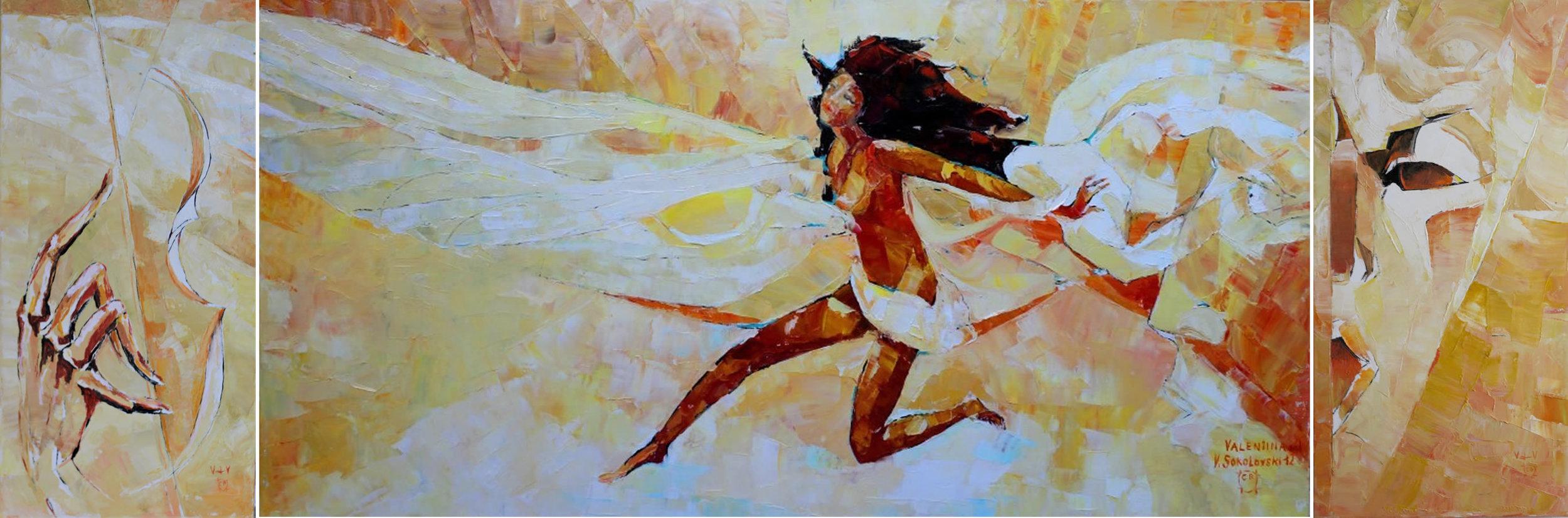 VALERI SOKOLOVSKI Phantom of Inspiration Triptych Original Oil 24 X 12   48 X 24   24 X 12