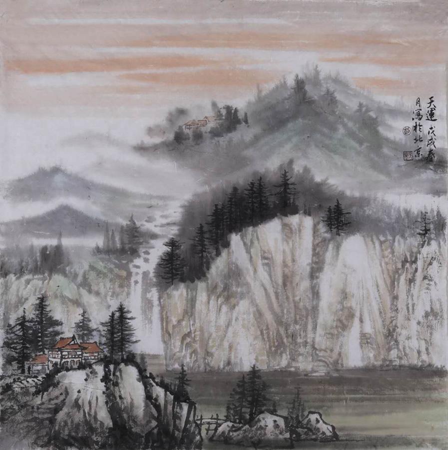 LU TIAN YUN  Destiny Original Ink & Chinese Painting Pigment 27 X 27