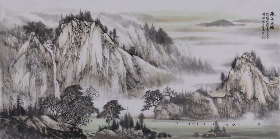 LU TIAN YUN  Spring River Plumbing Original Ink & Chinese Painting Pigment 27 X 55