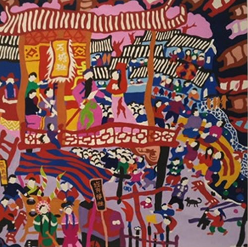 GONG KUI SONG  Drama Festival Original Japanese Meticulous Gouache on Scroll 24.5 X 24.5