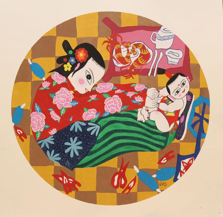 GONG KUI SONG  Swinging with Grandma Original Japanese Meticulous Gouache 16.5 X 16.5