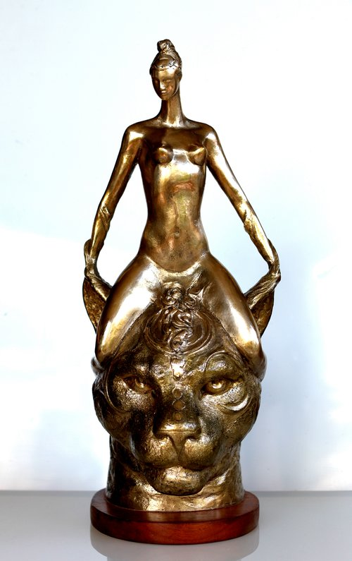 RUDOLF SOKOLOVSKI  Queen Original Polished bronze 22 x 13 x 10 inches