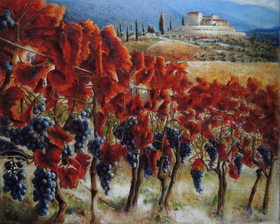 JANICE MCLEAN  Montalcino Val Di Orcia Original Oil Leafing & Marble Dust  48 x 60