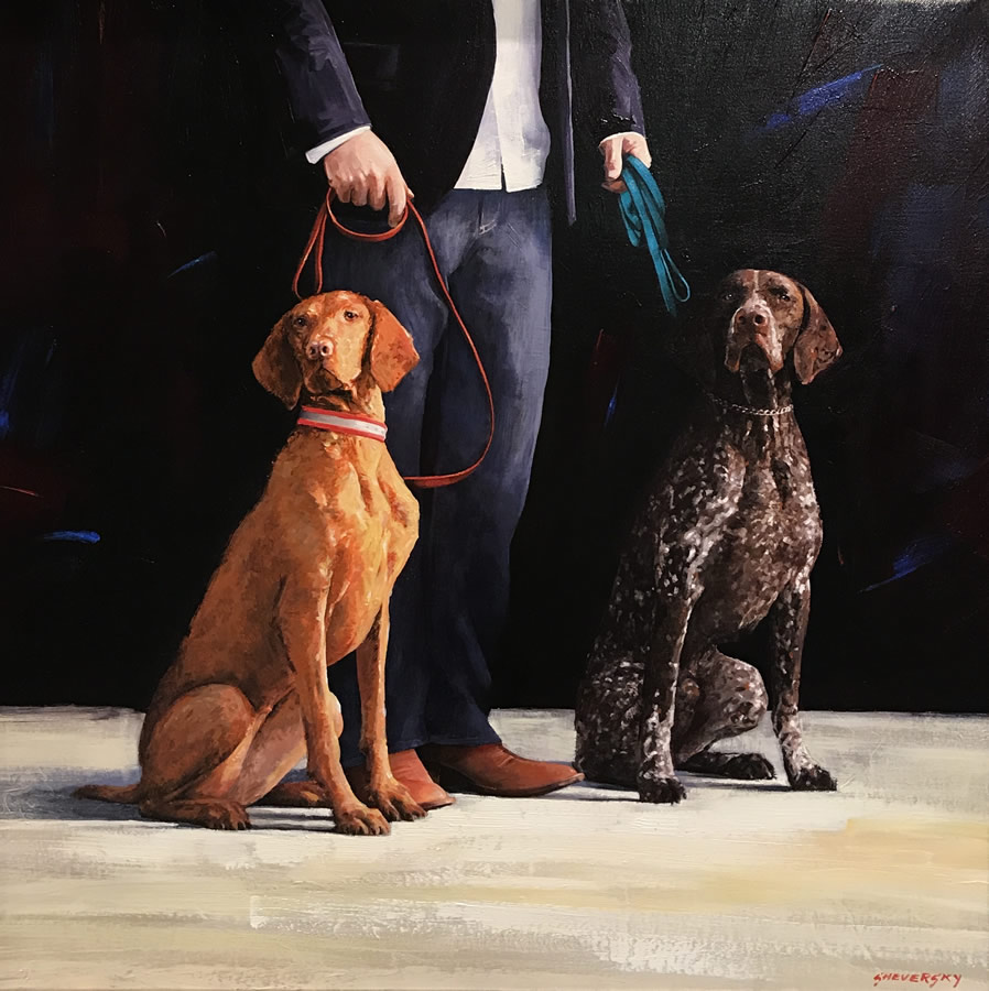 ALEXANDER SHEVERSKY The Hunting Dogs Original Oil 36 x 36