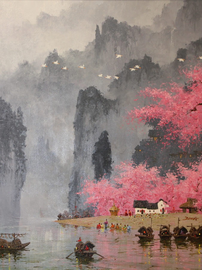 UNCLE ZENG  Blossom in the Village Mountain Original Oil 30 X 40